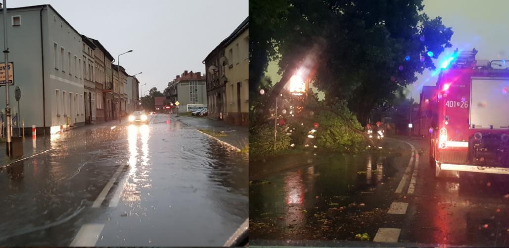 Dziesiątki powalonych drzew i zalane ulice! Strażacy walczą ze skutkami nawałnicy.