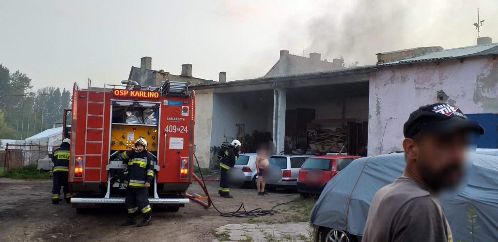Pożar warsztatu w Karlinie - na szczęście nikt nie ucierpiał.