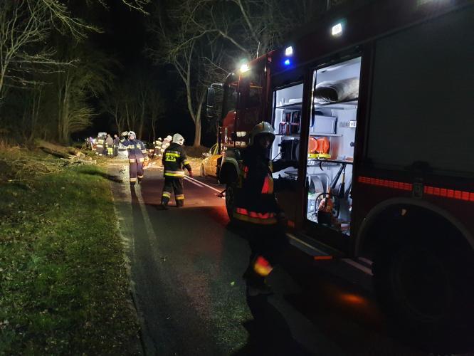 Orkan Sabina w powiecie białogardzkim - strażacy mają pełne ręce roboty!