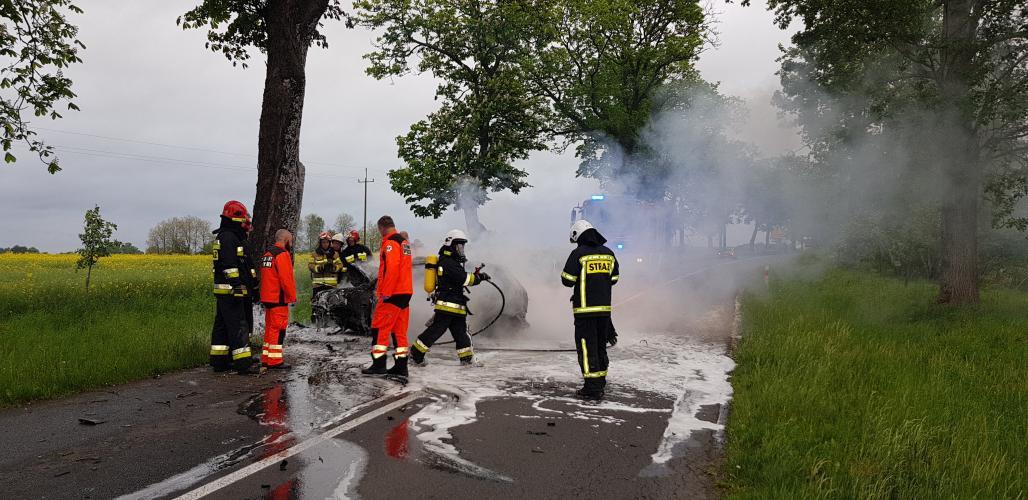 Tragiczny wypadek pod Tychowem! Kierowca spłonął po czołowym uderzeniu w drzewo.