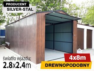 Garaż blaszany 4x8 podwyższony drewnopodobny